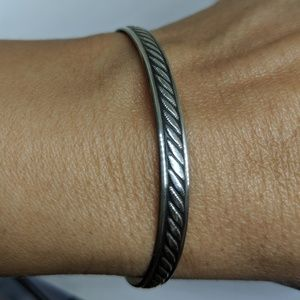 Womens 925 Sterling Silver Cable Cuff Bracelet